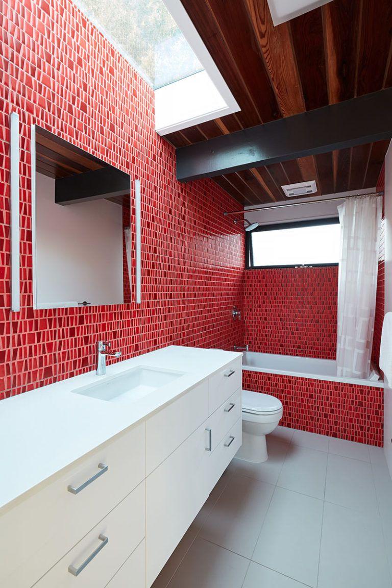 A Palo Alto Eichler Remodel By Klopf Architecture Bathroom Red Mid Century Modern Bathroom Modern Bathroom