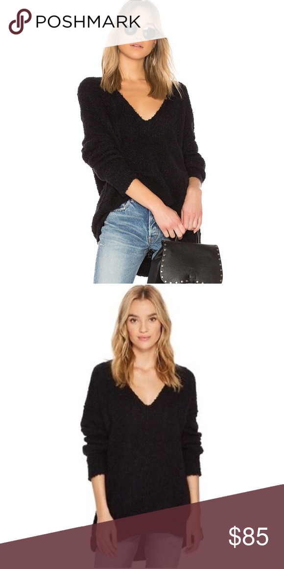 Free People Lofty V Neck Sweater In Black Nwt Nwt My Posh Picks