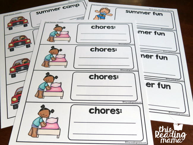 Visual Summer Schedule Printable - This Reading Mama #summerschedule fill in the blank visual summer schedule cards #summerschedule