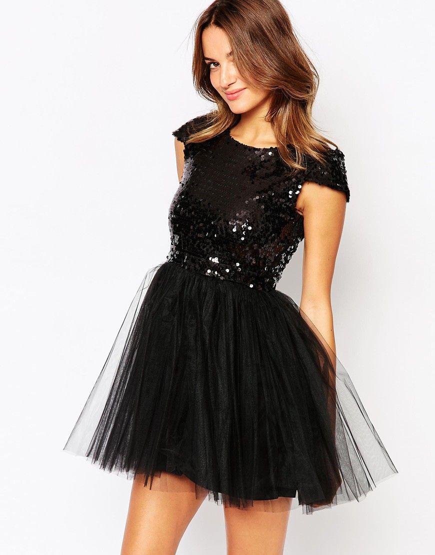Little Black Dress Carrie Dress With Sequin Top And Tulle Skirt At Asos Com Podrostkovaya Odezhda Odezhda Blestyashij Top [ 1110 x 870 Pixel ]