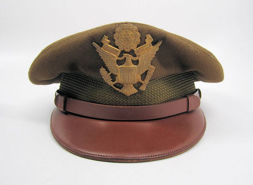 WW2 US visor wwI army air force Officer crusher hat bomber pilot flight  gear cap 9d41ef5eb278