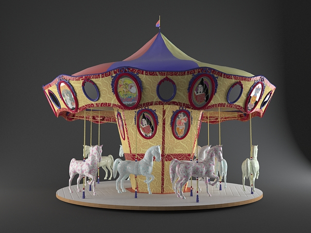 Toy carousel horses 3d model 3ds max files free download