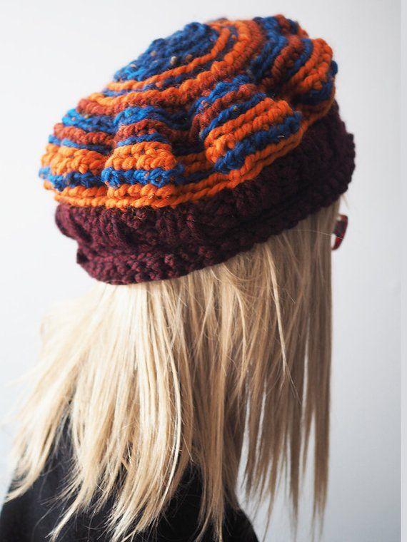 da4bbac875e MAUDE Burgundy orange   royal knit cloche