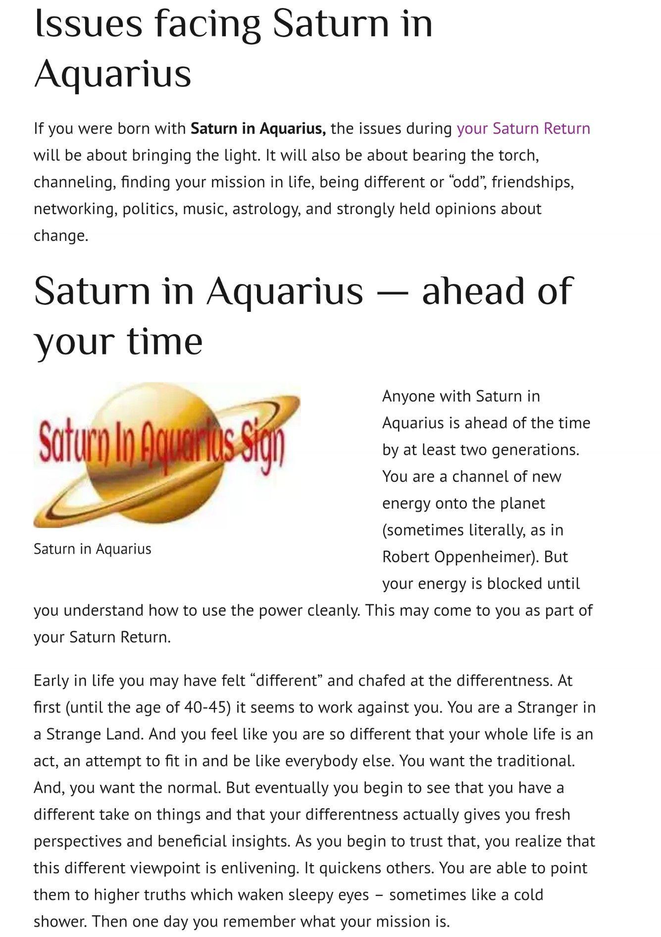 Saturn In Aquarius Saturn In Aquarius Saturn Return Saturn