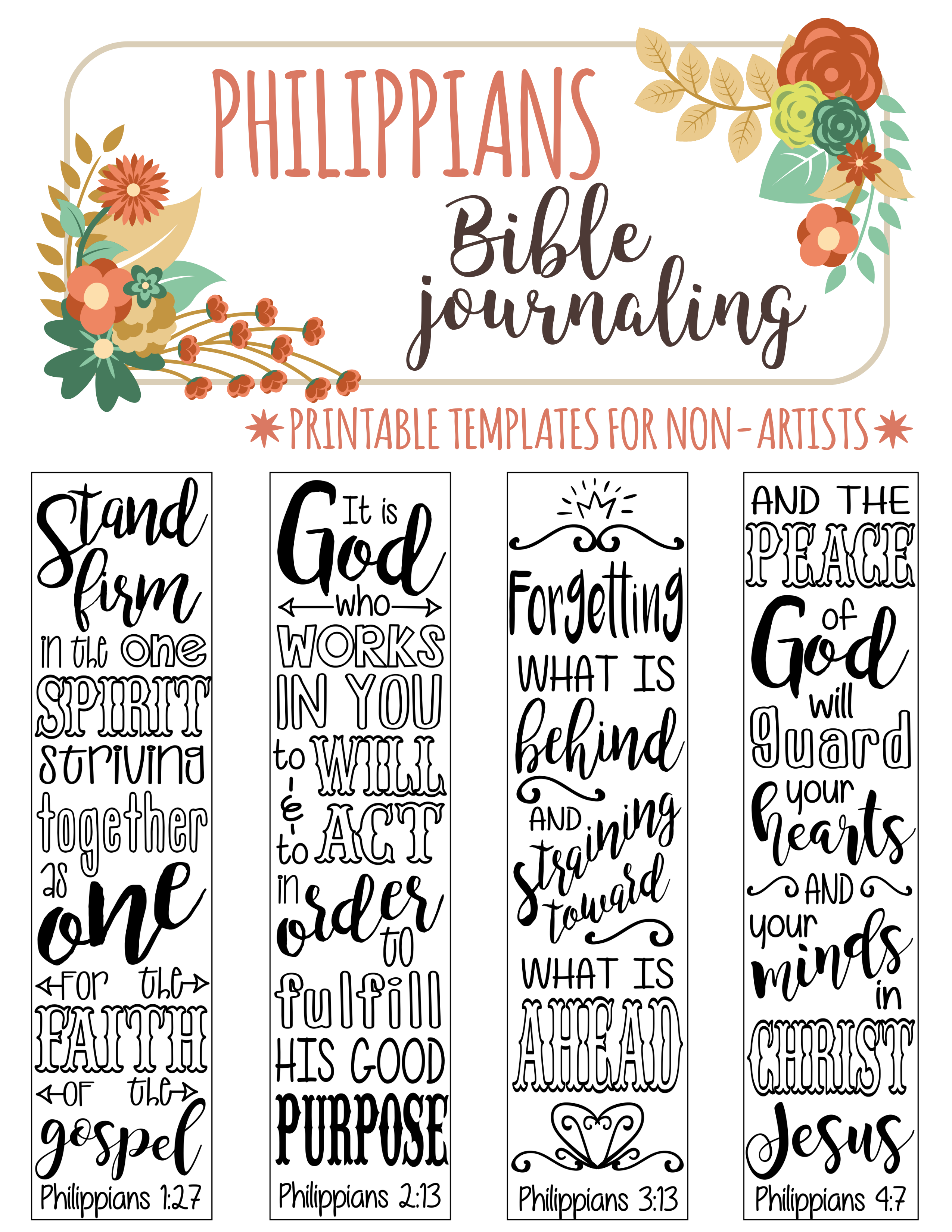 4 Bible Journaling Digital Download Printable Template