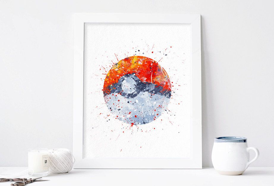 Pokemon Wall Decor poké ball, pokemon, pokeball watercolor nursery art print, home