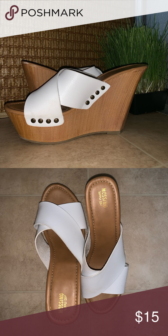 White Wedges While/Wood wedge heel from