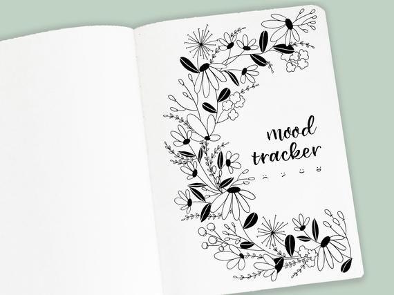 Mood Tracker Printable  Set of 5 Bullet Journal Trackers  | Etsy