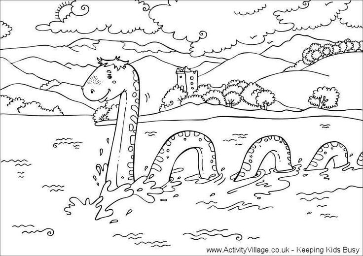 loch ness monster colouring page scotlandengland trip pinterest