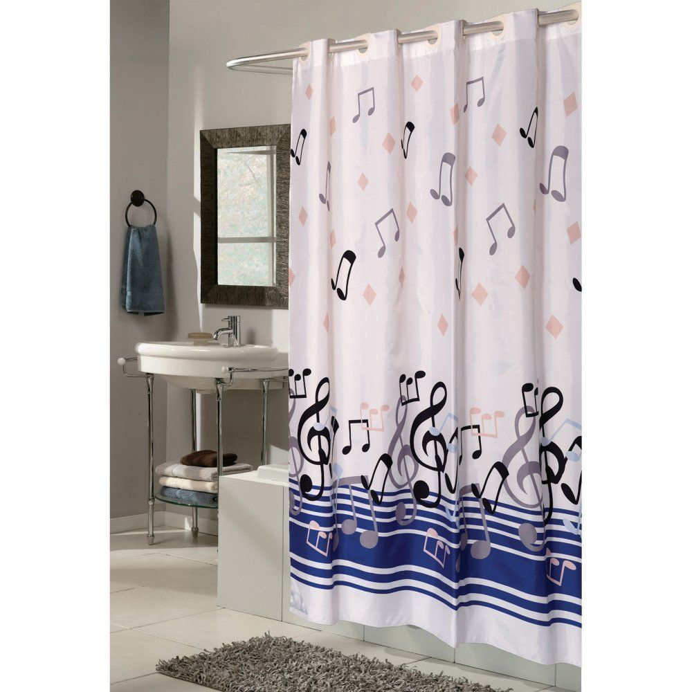 Throw pillows cards mugs shower curtains - Carnation Home Fashions Ez On Grommet Blue Note Musical Fabric Shower Curtain Shower Curtains At Hayneedle