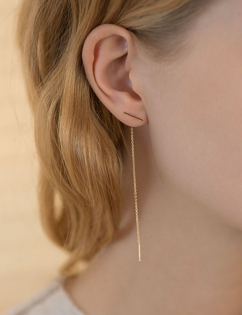 Stylish earrings are created from two strands of 1mm sterling silver hollow round tubing