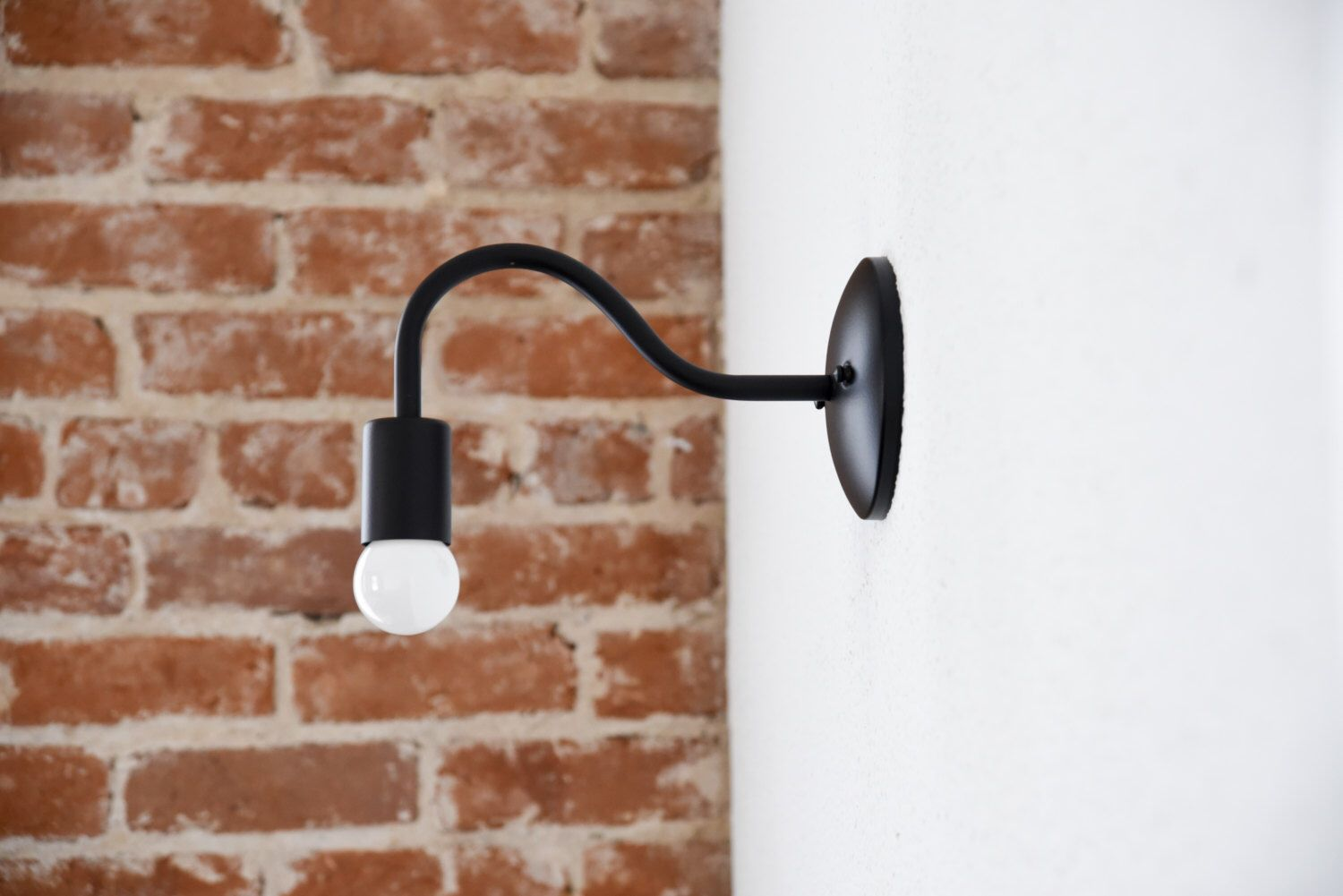 Free Shipping! Matte Black Wall Sconce Curved Arm Vanity Light ...
