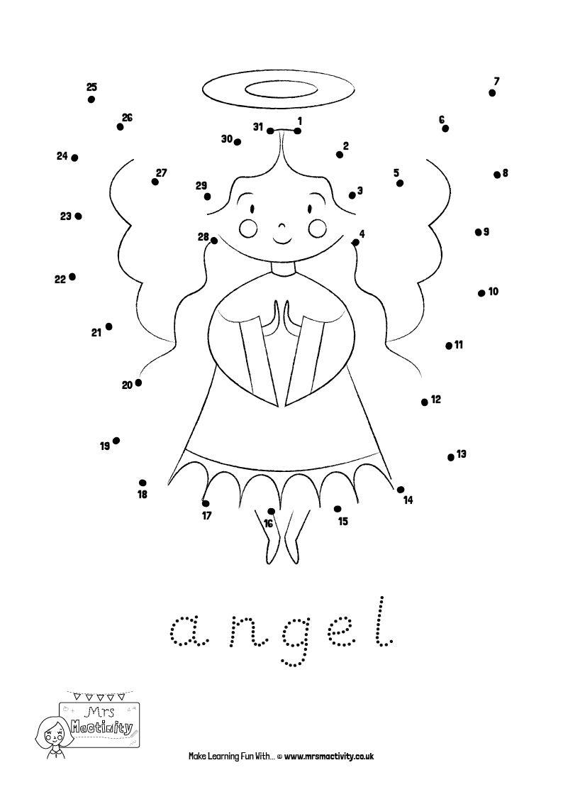 Dot To Dot Christmas Printable Angel For Ages 3 7 Dot To Dot Printables Christmas Worksheets Christmas Printables