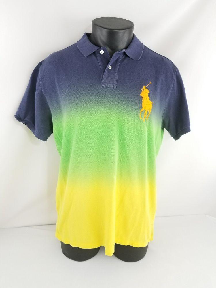 8f83c5444 Polo Ralph Lauren Custom Fit Men s Neon Color Fade Polo Shirt Adult Size  Large-L  PoloRalphLauren  PoloCollaredCustomFitShirt