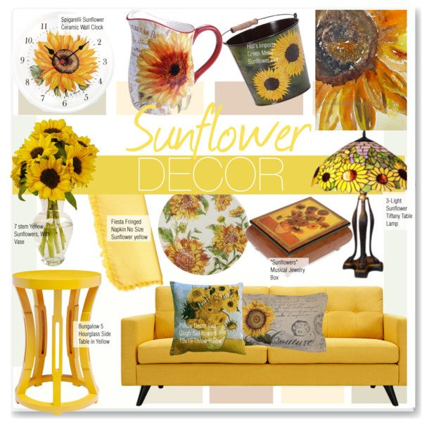 Sunflower Decor by kusja on Polyvore featuring interior, interiors, interior design, home, home decor, interior decorating, Dot & Bo, Bungalow 5, Pier 1 Imports and Certified International