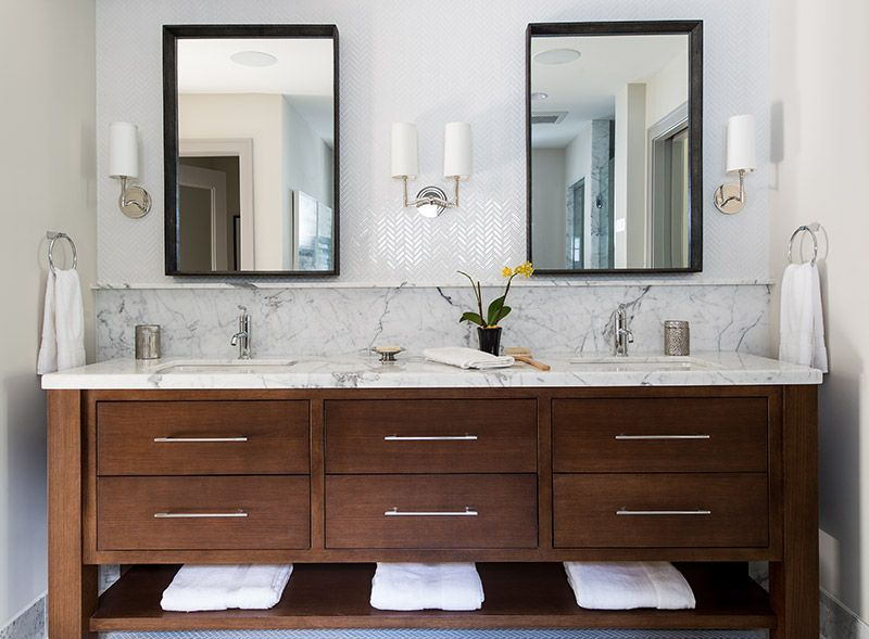 contemporary bathroom vanity with marble top, backsplash + ...