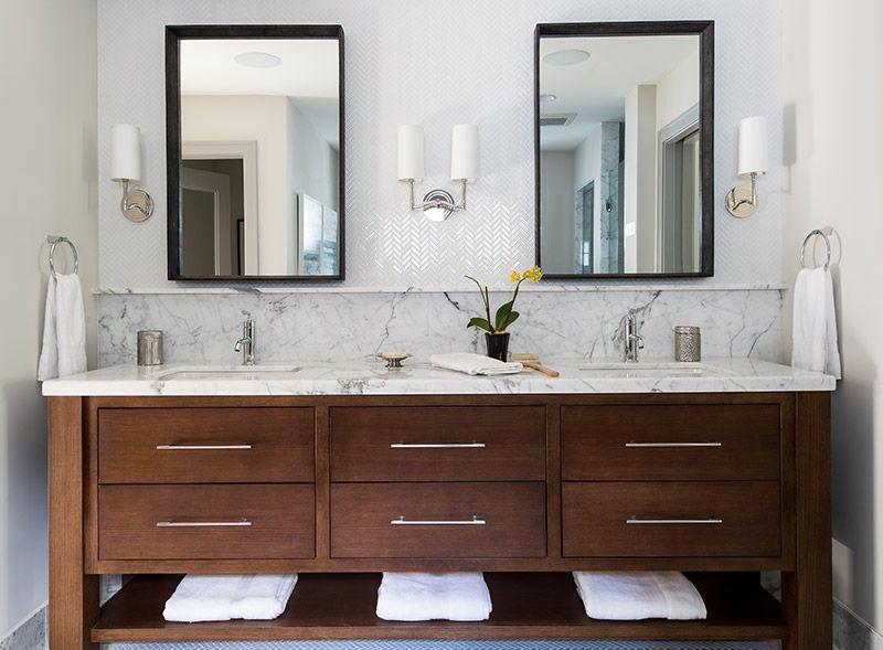 Contemporary Bathroom Vanity With Marble Top Backsplash