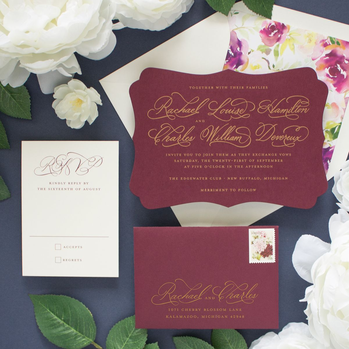 Cherished | Burgundy wedding invitations and Weddings