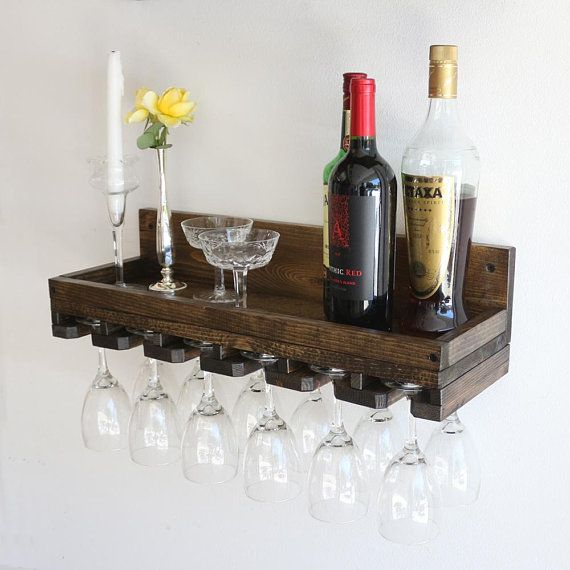 24 Rustic Wood Wine Rack Shelf With Hanging Stemware Gl Holder Bar Organizer Wall Racks And Holders