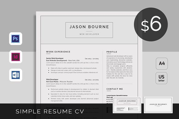 Resume\/CV by UX-group on @creativemarket Resume Template - resume business cards