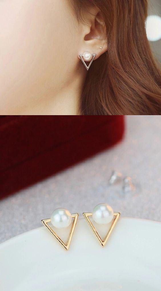 S925 Triangle Pearl Earrings #pearljewelry