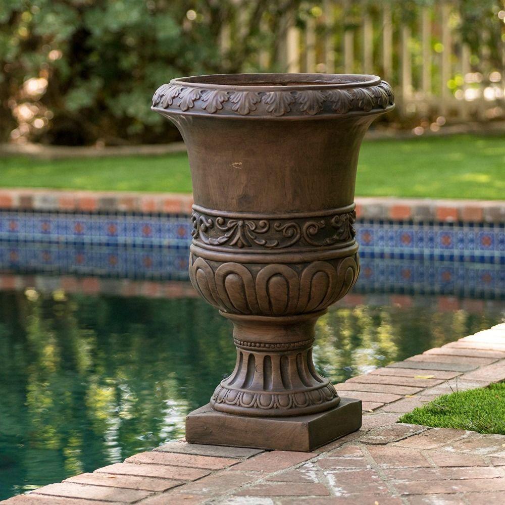 Tall Planter Urn Large Flower Pot Roman Grecian Style Stone Brown
