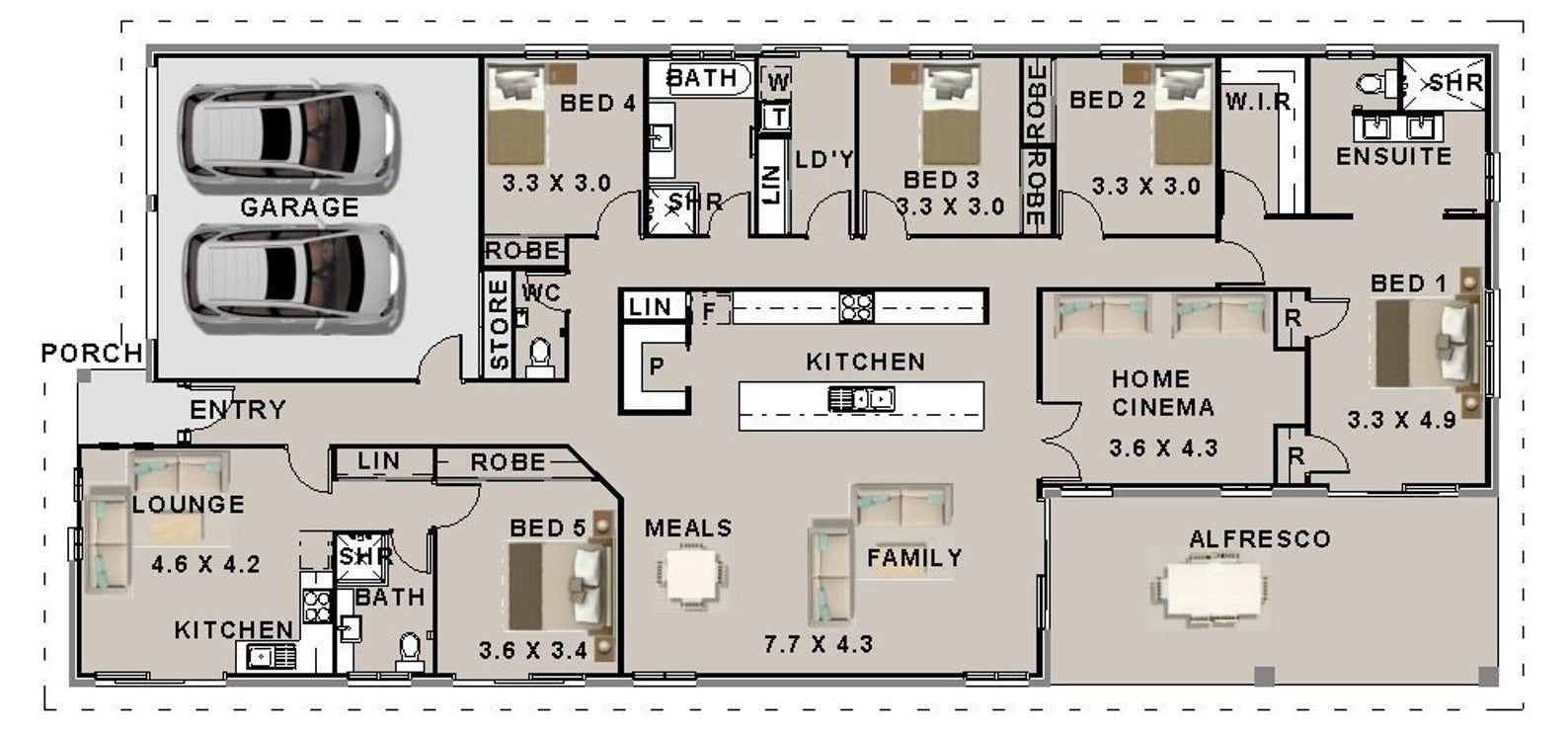 304 M2 5 Bedrooms Home Cinema Plan 5 Bed 5 Bed Home Etsy Bedroom Floor Plans Australian House Plans Multigenerational House Plans