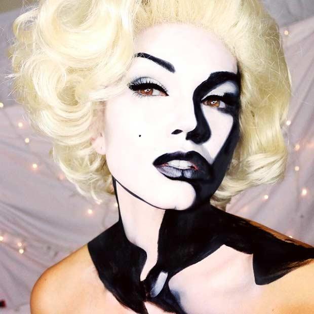black and white marilyn monroe halloween makeup, pop art