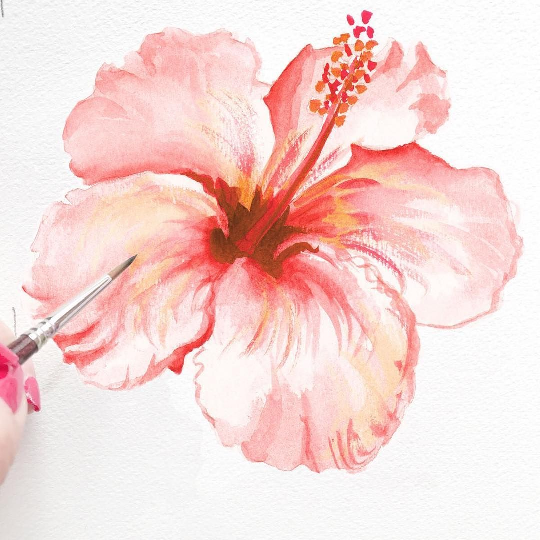 Hand Painted Hibiscus Flower By Michelle Mospens Artist