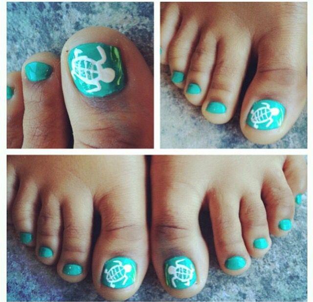 Sea Turtle Pedicure Make Up Nails Pinterest Pedicures