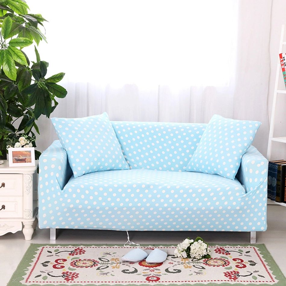 Reclining Sofa Elastic corner sofa cover for living room multi size blue dots print couch sofa