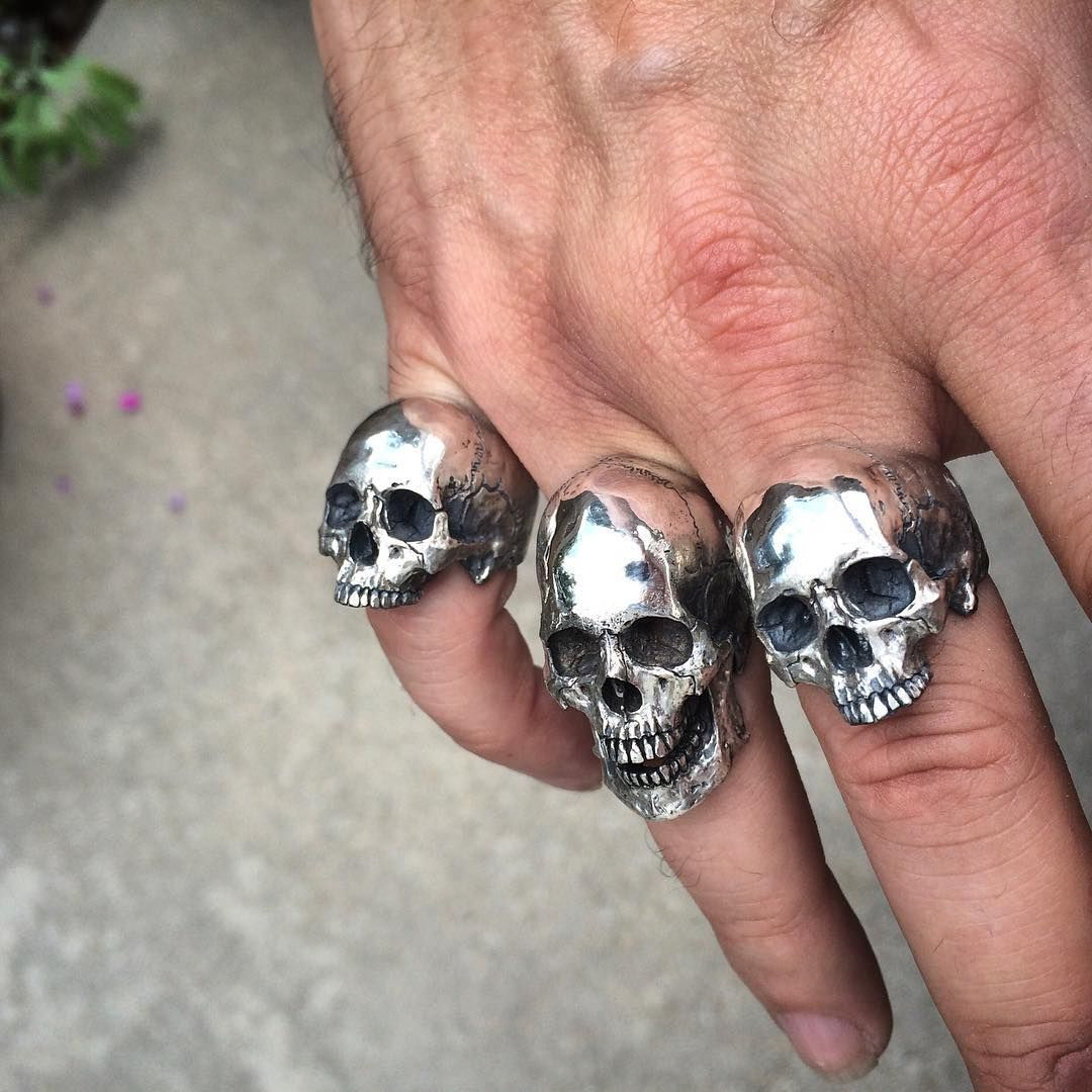 """Skull rings"""" Into The Fire Jewelry skull rings hand carved"""