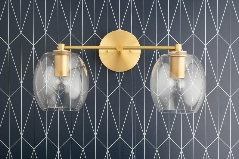 Photo of Clear Globe Vanity Light – Open Globe – Brass Vanity – Bathroom Fixture – Brass Bathroom Light – Glass Globe – Model No. 9660