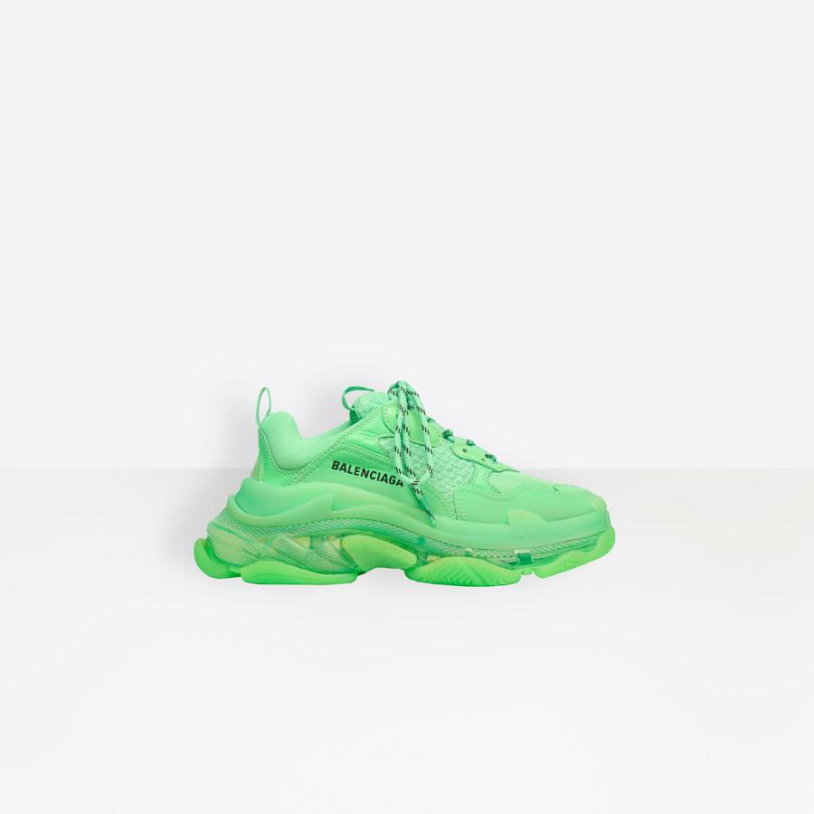 Triple S Clear Sole Sneaker NEON GREEN