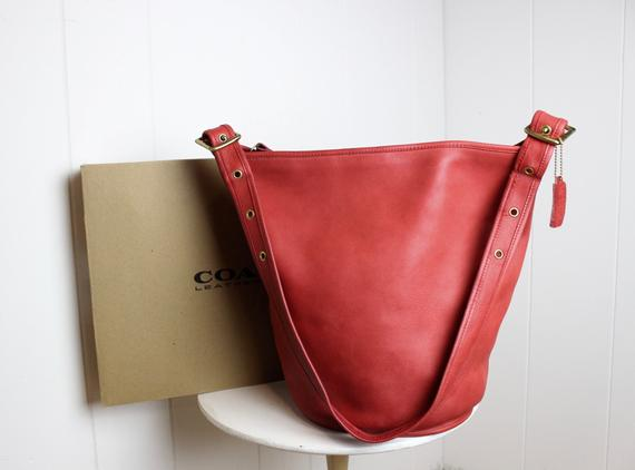 d9f3d00a2 RESERVED Vintage Coach Duffle Bag New York City Red with Box RARE // Bucket  Bag Feed Sac Pre 9085 NY