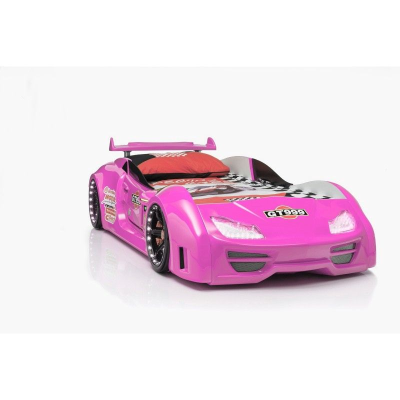 Pink GT999 racecar bed for kids with LED lights | Car bed