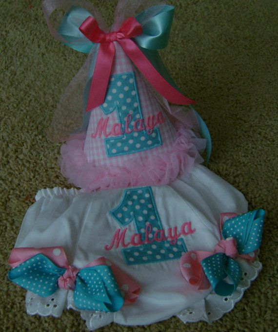 Birthday Party Hat and Bloomers Set by BibsandBurps on Etsy, $35.00