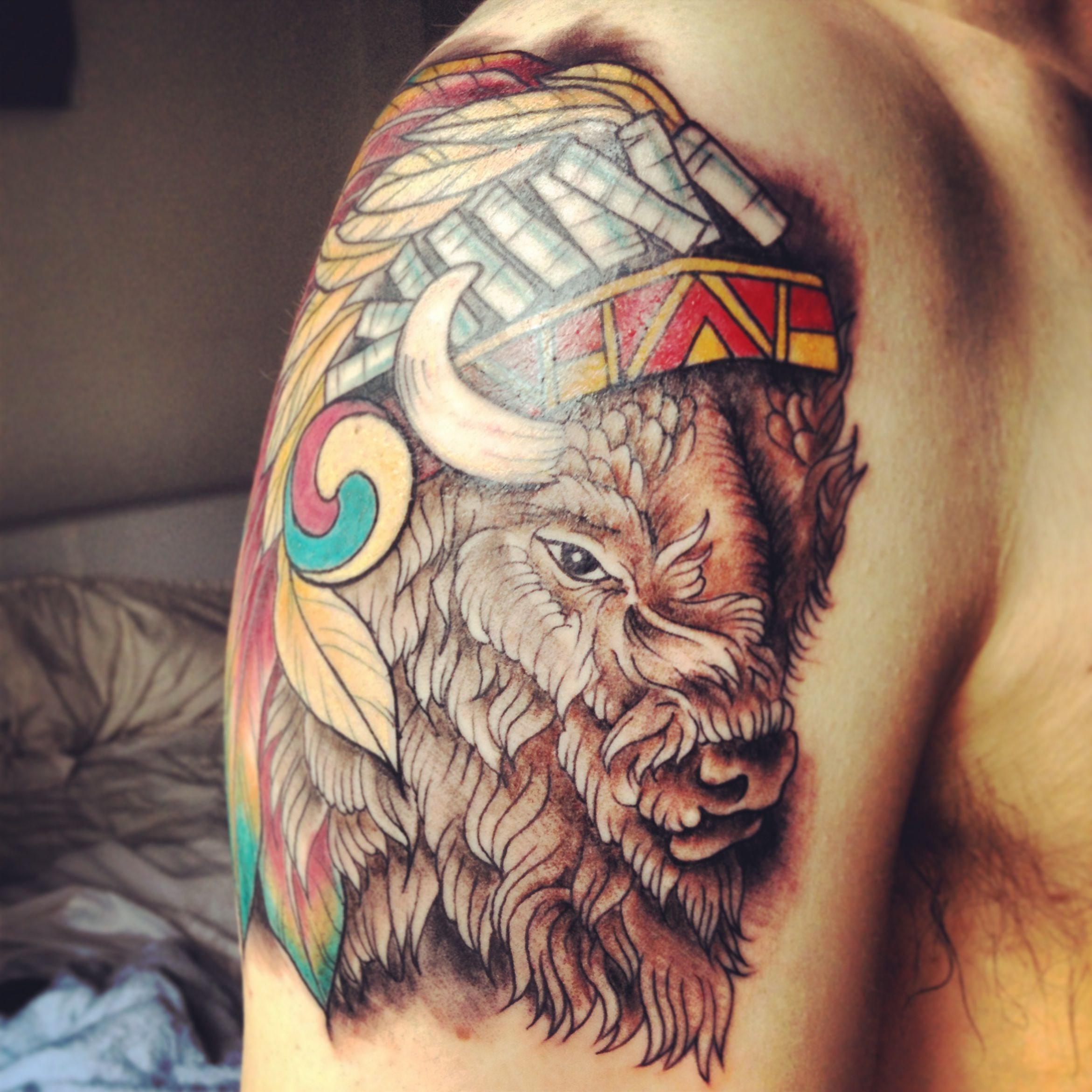 Tattoo of buffalo bison with navajo headdress fresh from for The parlour tattoo