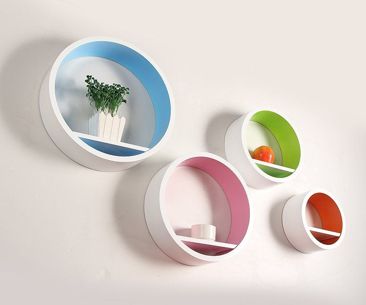 Very Beautiful Set4 MDF Wall Round Circle Shelf Outside White Inside  Colorful US $49.00