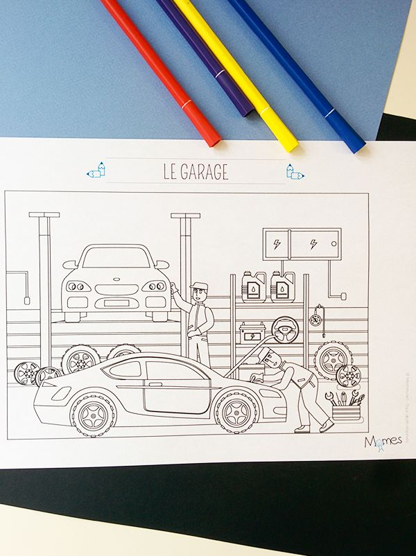 Coloriage le garage automobile coloriages coloriage coloriage ville et garage - Dessin garage ...