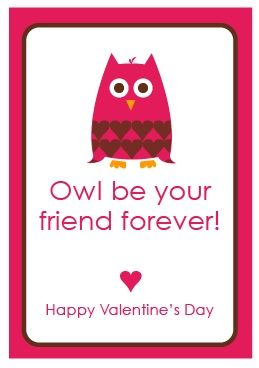 Valentines Sayings  Owl Free printable and Bookmarks