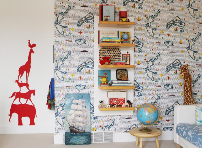 Kinderzimmer Wandgestaltung Lustige Wandtapete Jungenzimmer Ideen