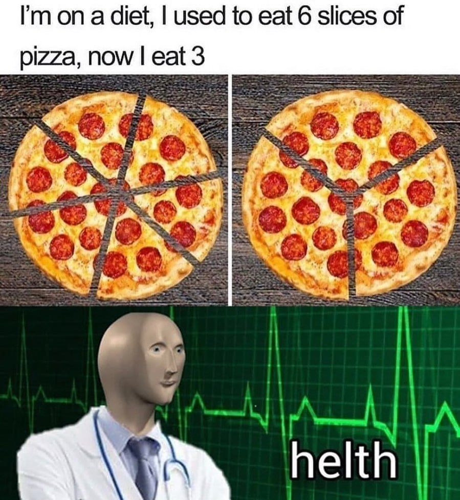 """Rating the Meme on Instagram: """"It's unclear to me whether the maker of this meme has acknowledgedthat the statement andimage revolving around pizza slices and diets can…"""""""