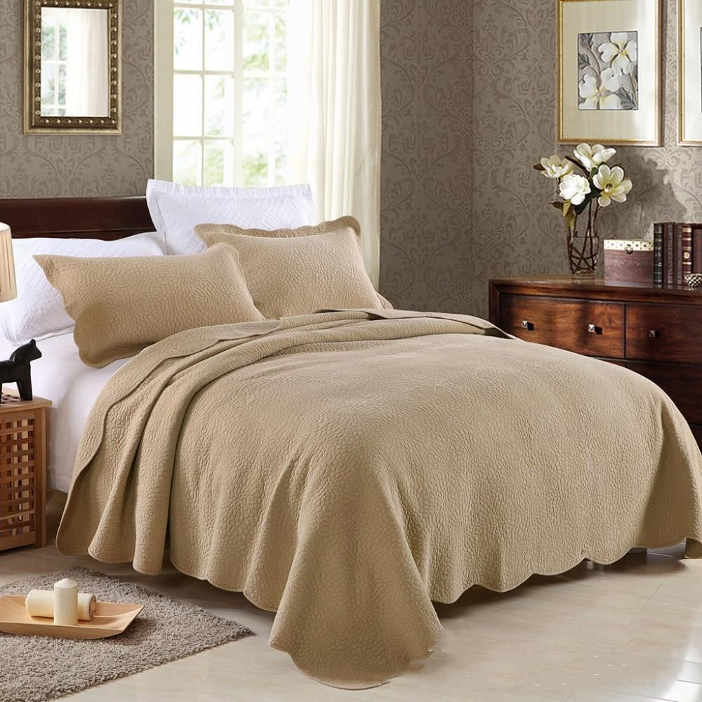 Chausub 100 Cotton Quilt Set 3pc Quilts Solid Color Quilted