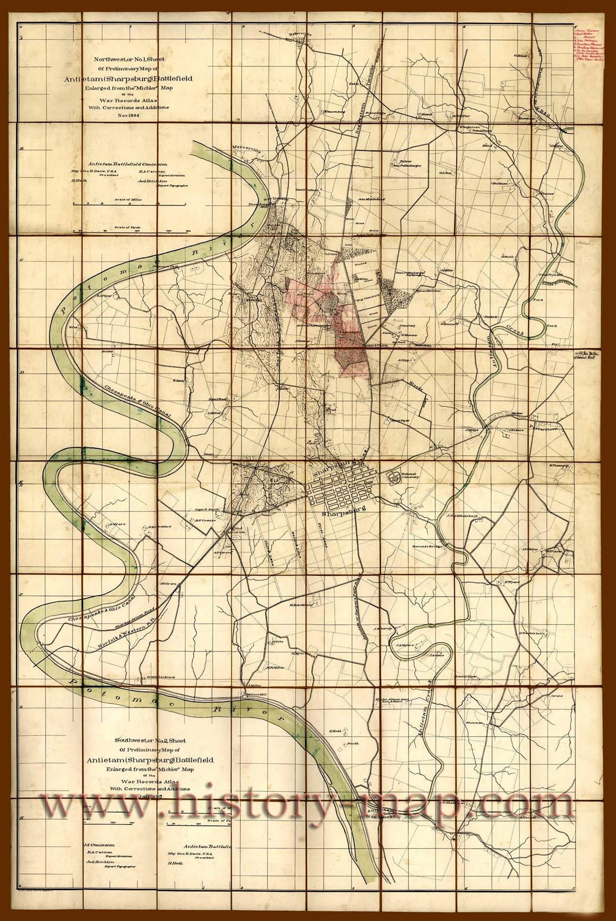 Mapchart Of Antietam Sharpsburg Battlefield It Was Made By - Any us map in battlefield series