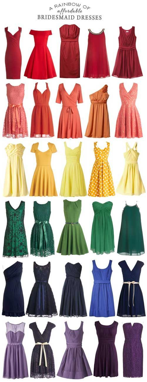 Rainbow of Affordable Bridesmaid Dresses For those interested in filling their wedding with all the colors, may I present to you, a rainbow of bridesmaid dresses!For those interested in filling their wedding with all the colors, may I present to you, a rainbow of bridesmaid dresses!