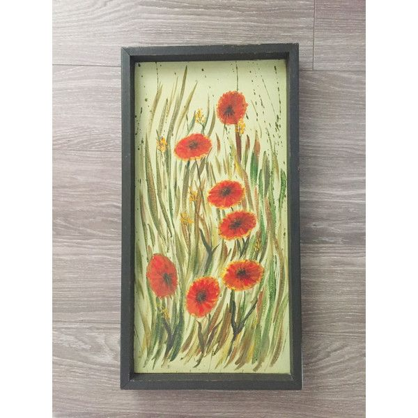 Floral Painting, Vintage Painting, Red Flowers Art, Poppy Painting ...