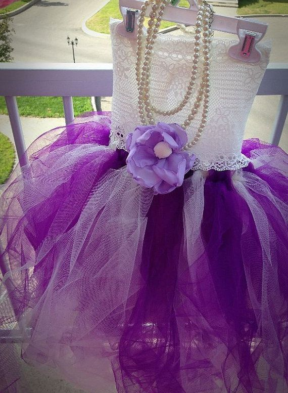 a99044130bac Purple and Ivory Lace flower girl tutu dress with dark purple/lavender/lilac  flower on Etsy, $60.00