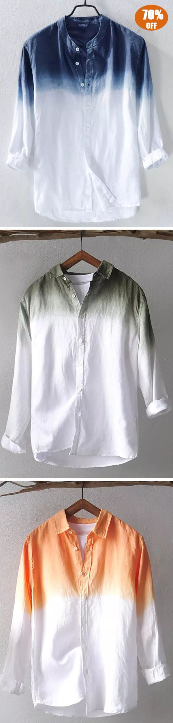 Gradient Color Cotton Breathable Trendy Shirts images