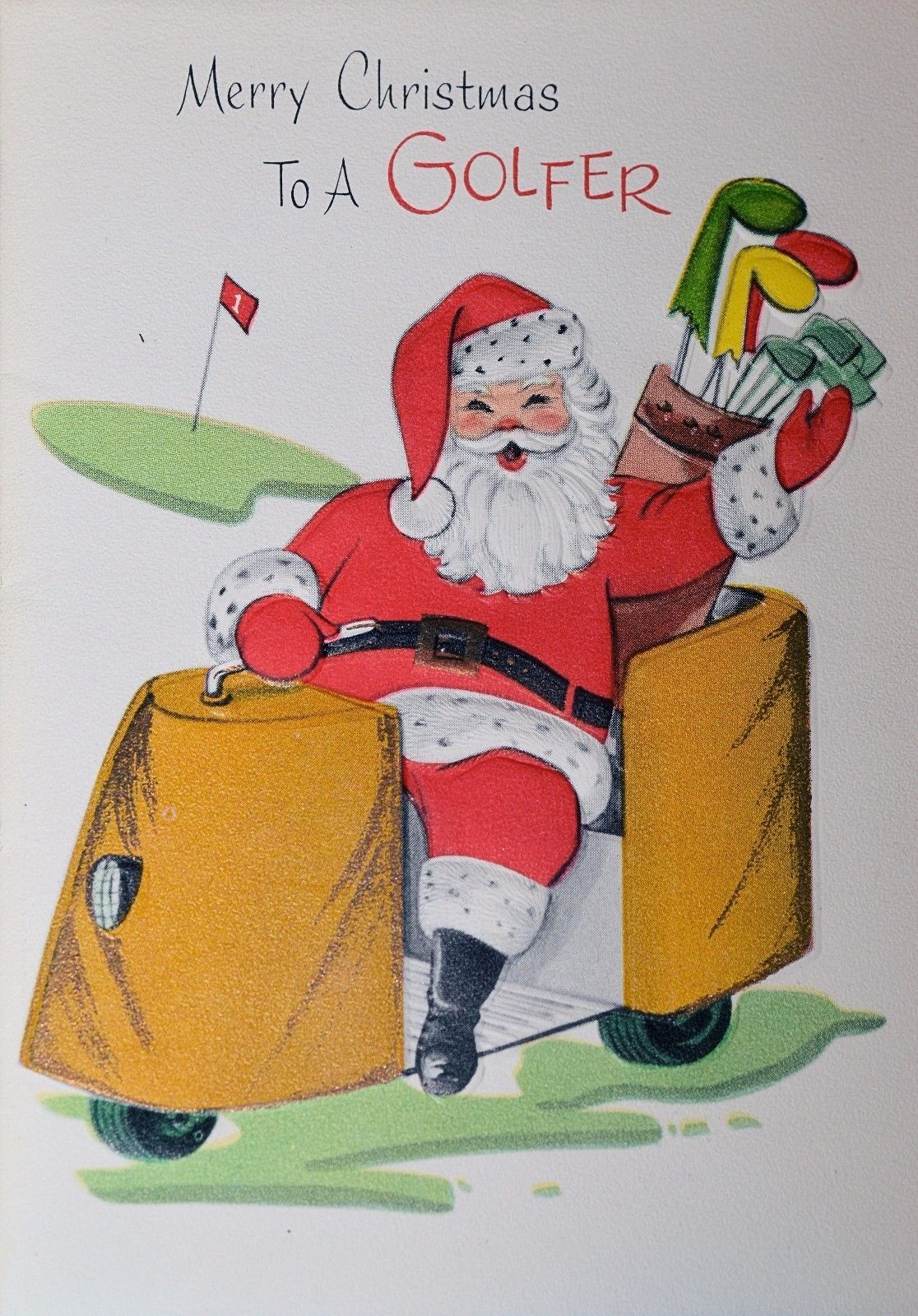 Vintage UNUSED Xmas EMBOSSED Christmas Card SANTA CLAUS GOLFER GOLF ...